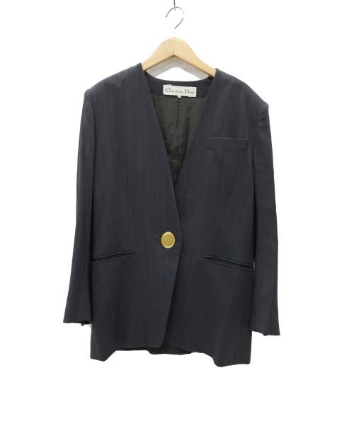 Christian Dior(クリスチャン ディオール)Christian Dior (クリスチャンディオール) ビンテージ 金釦 ノーカラージャケット グレー サイズ:Mの古着・服飾アイテム