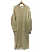 ENFOLD(エンフォルド)の古着「knit v-neck dress ワンピース」|ベージュ