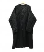 sulvam(サルバム)の古着「裏地キュプラキルティングオーバーコート」|ブラック