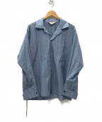 SUNSEA()の古着「HANK STRIPE GIGOLO SHIRT シャツ」|スカイブルー
