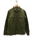MOMOTARO JEANS(桃太郎ジーンズ)の古着「US ARMYヘリンボーン レーザー加工シャツ」 オリーブ