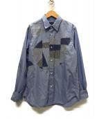 ()の古着「パッチワークシャツ」|スカイブルー