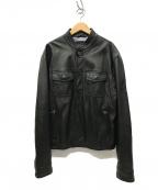 ARMANI JEANS(アルマーニジーンズ)の古着「レザートラッカージャケット」|ブラック