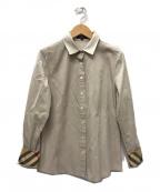 BURBERRY LONDON(バーバリーロンドン)の古着「ホースロゴ刺繍 ノバチェックシャツ」 ライトベージュ