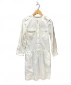 BURBERRY BRIT(バーバリーブリット)の古着「金釦 シャツワンピース」|ホワイト