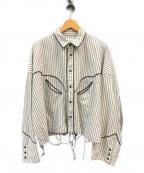 jieda(ジエダ)の古着「WESTERN SHIRTS カットオフウエスタンシャツ」|ホワイト×ブラック