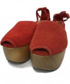 Pippichic(ピッピシック)の古着「WOOD SOLE SANDAL サンダル」|レッド