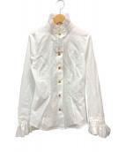 ()の古着「オーブ刺繍 フリルシャツ ブラウス」|ホワイト