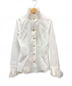Vivienne Westwood RED LABEL(ヴィヴィアンウエストウッドレッドレーベル)の古着「オーブ刺繍 フリルシャツ ブラウス」|ホワイト