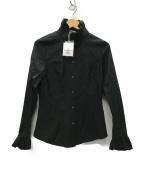 Vivienne Westwood RED LABEL(ヴィヴィアンウエストウッドレッドレーベル)の古着「オーブ刺繍 フリルシャツ ブラウス」|ブラック