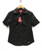 Vivienne Westwood RED LABEL(ヴィヴィアンウエストウッドレッドレーベル)の古着「オーブリピート ジャカードタイ付半袖シャツ」|ブラック