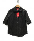 Vivienne Westwood RED LABEL(ヴィヴィアンウエストウッドレッドレーベル)の古着「オーブリピート ジャカード半袖シャツ」|ブラック