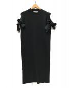 ()の古着「Bella ribbon dress リボンリブニットワンピ」|ブラック
