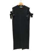 AKIRA NAKA()の古着「Bella ribbon dress リボンリブニットワンピ」|ブラック