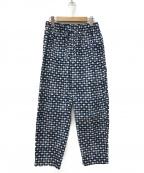 Phlannel(フランネル)の古着「Mashrabiya Print Easy Trousers」 ブルー