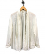 HERMES(エルメス)の古着「ギャザー 前開き ブラウス シャツ」 ホワイト