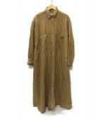 ()の古着「フレアロングシャツワンピース」|ベージュ