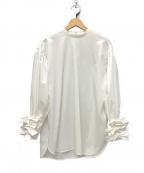 YORI(ヨリ)の古着「21SS shirocon リボンカフブラウス」|ホワイト