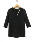YOKO CHAN(ヨーコチャン)の古着「Long-sleeve Pearl Blouse ブラウス」 ブラック