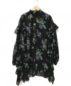 CLANE(クラネ)の古着「BLOOM FLOWER FRILL BROUSE」|ブラック