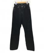 leno(リノ)の古着「LOOSE STRAIGHT JEANS デニムパンツ」|ブラック