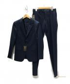 COMME CA MEN(コムサメン)の古着「ポリエステルストレッチピンストライプ セットアップスーツ」 ネイビー