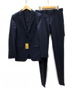 COMME CA MEN(コムサメン)の古着「ポリエステルストレッチピンストライプ セットアップ2Bスーツ」 ネイビー