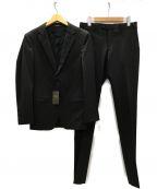 COMME CA MEN(コムサメン)の古着「ポリエステルストレッチピンストライプセットアップ 2Bスーツ」 ダークブラウン