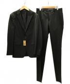 COMME CA MEN(コムサメン)の古着「ポリエステルストレッチピンストライプ セットアップスーツ」 ダークブラウン