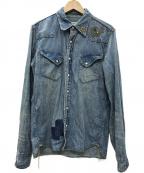 REMI RELIEF(レミレリーフ)の古着「デニムウエスタンシャツ フラワー スカルスタッズ」|インディゴ