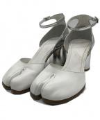 Maison Margiela 22(メゾンマルジェラ 22)の古着「バイカラー 足袋 タビヒールサンダル パンプス」 ホワイト×シルバー