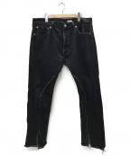 OLD PARK(オールドパーク)の古着「SLIT JEANS LEVIS 501 リメイクデニム」|ブラック