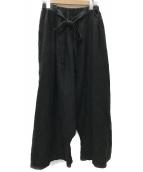 ()の古着「リネン琴平炊きサルエルワイドパンツ」|ブラック