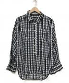 CINOH(チノ)の古着「CHECK SHOULDER TUCKED SHIRTシャツ」|ホワイト×ブルー×ブラック