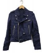 ()の古着「リネンライダースジャケット」|インディゴ