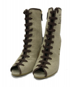 ()の古着「Peep-Toe Logo Wedge Short Boot」 ベージュ