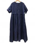 nest Robe(ネストローブ)の古着「リネンダブルブレストワンピース」|インディゴ
