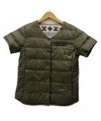 DESCENTE × HOBONICHI(デサント×ホボ日)の古着「なかのダウン 半袖ダウンジャケット」|オリーブ×カウチン柄