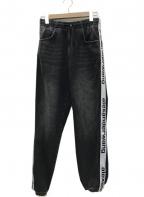 ALEXANDER WANG(アレキサンダーワン)の古着「Logo jogger pants テープロゴデニムパンツ」 ブラック