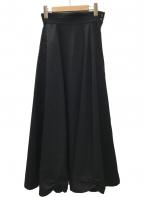 Y's(ワイズ)の古着「ウールデザインロングスカート」|ブラック