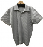 HOMME PLISSE ISSEY MIYAKE(オムプリッセ イッセイミヤケ)の古着「プリーツ ポロシャツ」|グレー