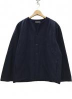 nestrobe confect(ネストローブ コンフェクト)の古着「ブラッシュドコットンコールドダイキーネックカーデ」 ネイビー