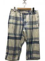 Porter Classic(ポータークラシック)の古着「HAND WORK LA MER CHECKパンツ」|ブルー