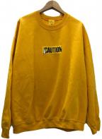 FR2(エフアールツー)の古着「CAUTION Embroidery Sweatshirt」|イエロー