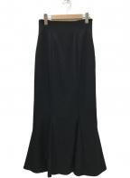Snidel(スナイデル)の古着「ハイウエストヘムフレアスカート」|ブラック