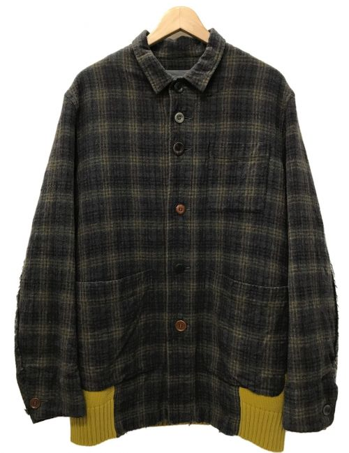 UNDERCOVER(アンダーカバー)UNDERCOVER (アンダーカバー) サイコカラー期 ニット切替ジャケット ブラウン×イエロー サイズ:2の古着・服飾アイテム