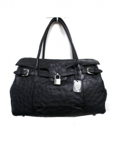 sanpo(サンポー)の古着「オーストリッチハンドバッグ」 ブラック