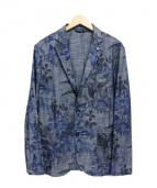 giannetta(ジャンネット)の古着「花柄アンコンジャケット」 ブルー