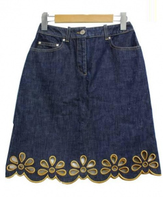 CELINE(セリーヌ)の古着「レースデニムスカート」|インディゴ