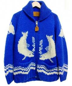 CANADIAN SWEATER(カナディアンセーター)の古着「カウチンニットカーディガン」|ブルー